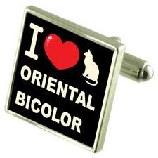 I Love My Cat Sterling Silver 925 Cufflinks Oriental Bicolor