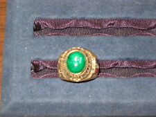 Eagle Scout Ring Size 10,  Eagle emblem in green stone, gold plated  c2 #3