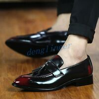 Mens Retro Tassel Slip On Dress Formal Wedding Patent Leather Loafers Chic Shoes