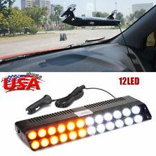 12LED Amber White Emergency Strobe Light Auto Windshield Flash Warning Turn Lamp
