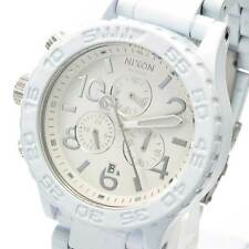 New NIXON Watch Mens 42-20 CHRONO ALL White Silver A037-1255 A0371255