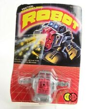 Friction Sparkling Robot With Flint Stone Hong Kong Vintage Toy Red Belly Eyes