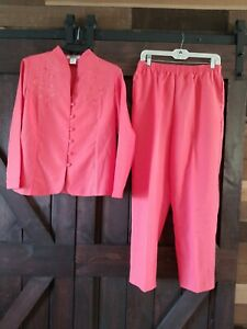 ADRIAN DELAFIELD CORAL 2-PIECE BUTTON UP LONG SLEEVE TOP ELASTIC PANTS SET MP