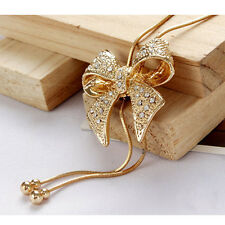New Crystal Bowknot Pendant Long Necklace Rhinestone Butterfly Sweater Chain