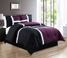 4 Pc QUEEN Size Purple Black White Down Alt Patchwork Comforter Set Bedding