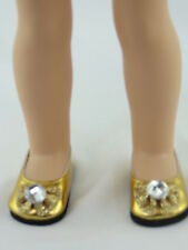 """Gold Rhinestone Bow Dress Shoes Fits Wellie Wishers 14.5"""" American Girl Clothes"""