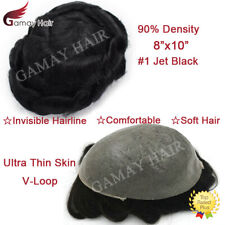 Ultra Thin Skin Mens Toupee Hairpiece Poly Pu Human Hair Replacement System #1