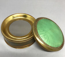 Vanity Face Powder Dresser Box Guilloche Green Enamel Brass Spring Depressor Vtg