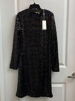 NWT $450 TORY BURCH Disque Sequin Sheath Long Sleeve Dress Sz S