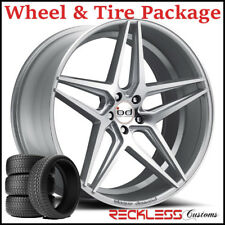 """20"""" BLAQUE DIAMOND BD8 CONCAVE SILVER WHEELS AND TIRES FITS HONDA ACCORD COUPE"""