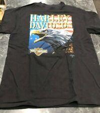 Vintage T Shirt - Harley Davidson American Eagle MotorCycle Black Size L 1991
