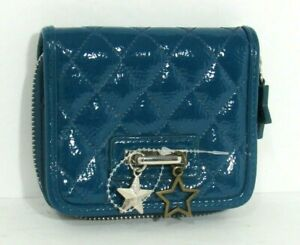 Teal Blue Zip Around Bifold Wallet Vegan New Quilted Dangle Star Charms