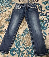 Miss Me Women's Mid Rise Easy Crop Blue Jeans JE8132EC Size 26