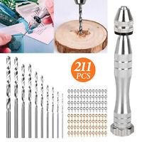 0.8-3mm 211Pcs Mini Micro HSS Bit Set Hand Spiral Pin Vise Micro Twist Drill Set
