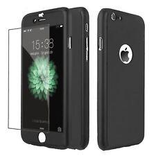 Funda 360° hibrida para Iphone 8 Negro + Cristal Templado Antigolpes Carcasa