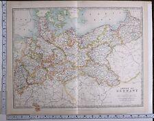 1915 mappa più grande impero di GERMAY Nord sezione brandenberg Pomerania Vestfalia