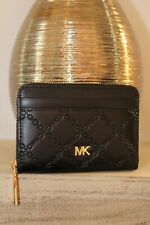 MICHEAL KORS ZIP-AROUND CARD CASE LEATHER BLACK/GOLD