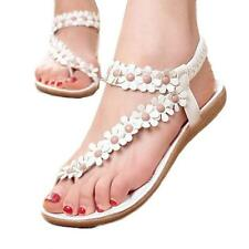 Fashion Summer Bohemia Sweet Beaded Sandals Clip Toe Beach Shoes Size 39 Hot