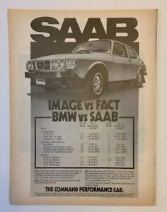 1978 Saab Turbo Print Ad Original Vintage Image Vs Fact Saab Vs BMW