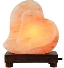 Salt Lamp Heart Shape Himalayan Pink Light Gift Wood Base Air Ionizer Health