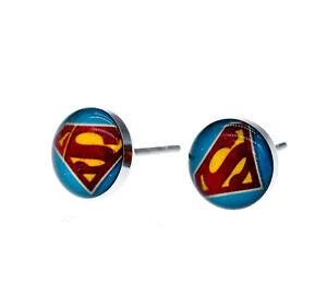 STAINLESS STEEL ENAMEL SUPERMAN EARRINGS SYMBOL MENS WOMENS STUD EARRINGS