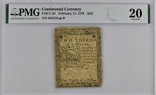 New ListingContinental Currency Fr#Cc-22 Feb. 17, 1776 $2/3 Pmg 20 *Problem Free Fugio Note