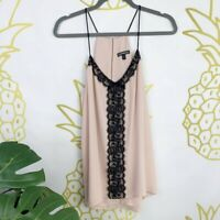 Express Women's Sz. L Light Blush Pink w/ Black Lace Spaghetti Strap Tank EUC!