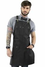 Real Leather Apron - Black Leather Body, Pockets and Crossback Straps - Split-Le