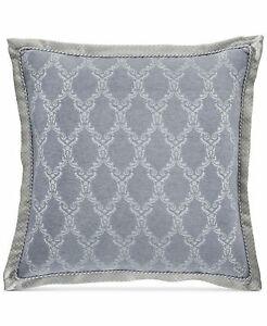 Croscill Seren Chenille Danask Jacquard Pillow Sham - EURO - Blue / Silver