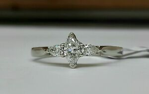 18ct White Gold 3 Stone Diamond Ring  0.48cts