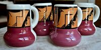 Ute Mountain Native American Pottery - Hand Painted Coffee Mugs set of 4