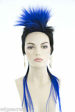 Mohawk Long Medium Brunette Red Straight Fun Color Costume Wigs