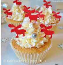 Christmas  Cake Decorations - Edible Wafer Reindeer - Stand Up Wafer Toppers Red