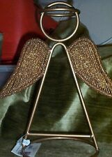 """CHRISTMAS~HEAVY GOLD METAL ANGEL~BEADED WINGS~11""""TALL~NEW"""