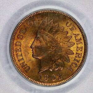 1903-P 1903 Indian Head Cent PCGS MS65 RB OGH Old green holder WOW Flashy!