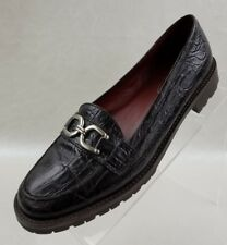 Talbots Loafers Horsebit Croc Embossed Brown Leather Lug Sole Womens Shoes Sz 8B