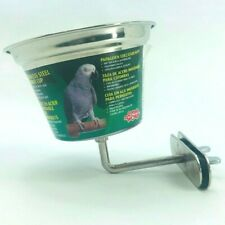 16 oz Screw on Stainless Steel Parrot Feeding Dish by Hagen Side Mount Bracket