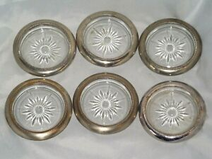 SET OF SIX VINTAGE LEONARD ITALY SILVERPLATE AND GLASS COASTERS