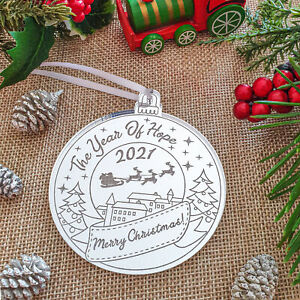 The Year Of Hope 2021 Silver Acrylic Christmas Tree Decoration Bauble Ornament