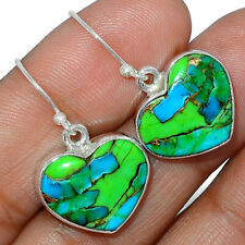 Heart - Blue Turquoise In Green Mohave 925 Silver Earring Jewelry AE163850