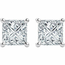 14K White 5.5mm Square Forever One™ Moissanite Princess Cut Earrings C&C 2ct