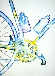 """John D Wibberley Cycle Art """"Water Bottles"""" Giclee Canvas Print, in various sizes"""