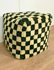 Black and white Moroccan Berber wool checkered pouf, Morocco Handmade footstool!
