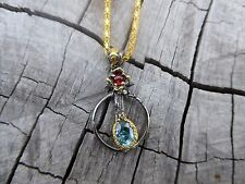 Empowering Jewelry Alloy Gold Tone Necklace + Blue Zircon Pendant Indie Boho