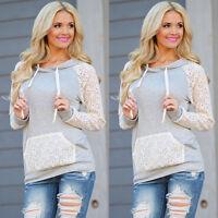 New Women Long Sleeve Hoodie Sweatshirt Sweater Casual Hooded Coat Pullover