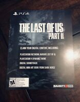 NEW The Last Of Us Part II 2 Collector's Edition DLC Slip (NO GAME) Naughty Dog