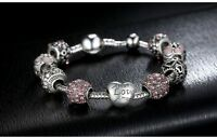 BAMOER Antique Silver Charm Bracelet & Bangle with Love and Flower Beads Women