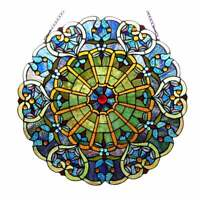 Round Tiffany Style Stained Glass Window Panel Suncatcher