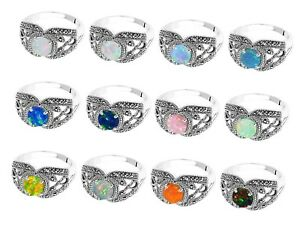 Fire Opal Side Black Onyx Marcasite Birthstone Infinity Sterling Silver Ring