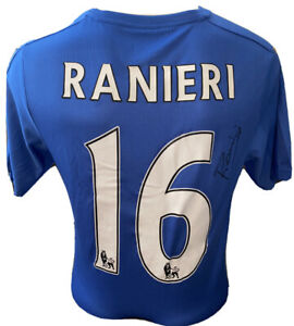 Signed Claudio Ranieri Retro Leicester City Home Shirt Champions 2016